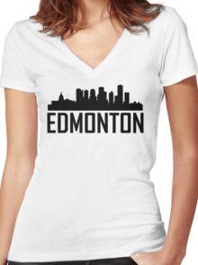 Skyline of Edmonton AB Women's Fitted V-Neck T-Shirt