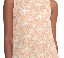 Orange and Pink Scallop Shells and White Starfish Design Contrast Tank
