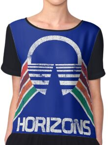 Vintage Horizons Distressed Logo in Vintage Retro Style Chiffon Top