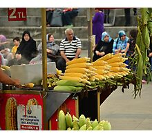 Istanbul Turkey, Fresh Cooked Sweetcorn Photographic Print