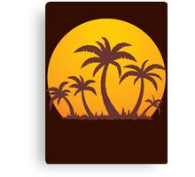 Palm Trees and Sun Canvas Print