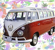 VW 21 window Mini Bus And Hippie Background by KWJphotoart