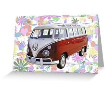 VW 21 window Mini Bus And Hippie Background Greeting Card