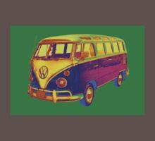 Classic VW 21 window Mini Bus Pop Art Image Kids Clothes