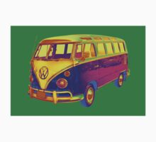 Classic VW 21 window Mini Bus Pop Art Image Kids Tee