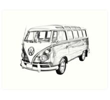 Classic VW 21 window Mini Bus Illustration Art Print