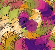Abstract,purple,beige,yellow,green,mustard,modern art,contemporary Sticker