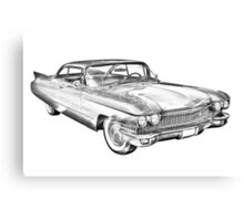 1960 Cadillac Luxury Car Illustration Canvas Print