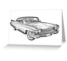 1960 Cadillac Luxury Car Illustration Greeting Card