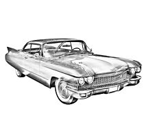 1960 Cadillac Luxury Car Illustration Photographic Print