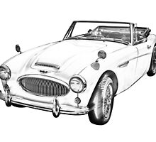 Austin Healey 300 Sports Car Drawing by KWJphotoart