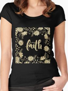 """faith"",typography,cool text,christian,Jesus,religion,faith,God Women's Fitted Scoop T-Shirt"