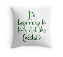 Its Beginning to Look Alot Like Cocktails in Christmas Evergreen Green Sparkly Faux Glitter Throw Pillow