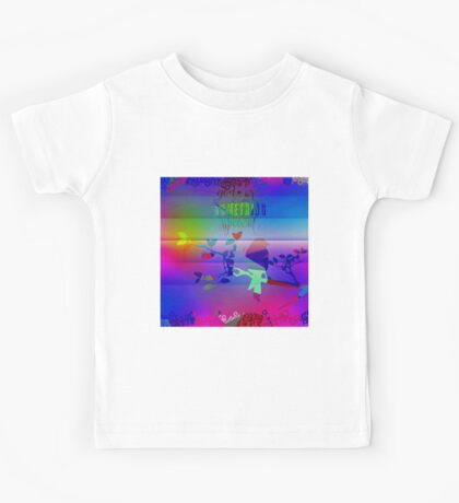 """Royal blue,abstract,bird on a branch,you are something special"""" Kids Tee"""