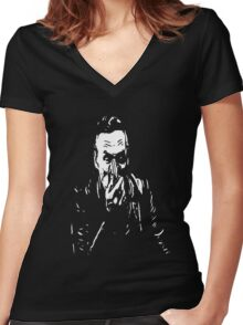 booth on black Women's Fitted V-Neck T-Shirt
