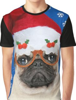 Pug dog wearing Christmas hat and glasses Graphic T-Shirt
