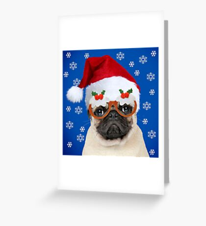 Pug dog wearing Christmas hat and glasses Greeting Card