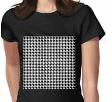 Traditional Black and White Houndstooth geometric pattern Womens Fitted T-Shirt