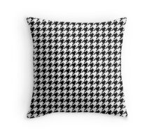 Traditional Black and White Houndstooth geometric pattern Throw Pillow