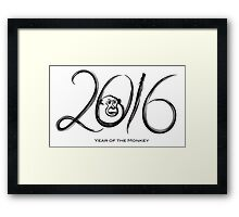 2016 Year of the Monkey Ink Brush Strokes Framed Print