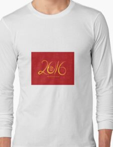 2016 Year of the Monkey Ink Brush on Red Background Long Sleeve T-Shirt