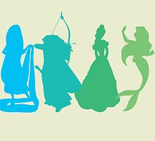 Princess Silhouettes - Blue and Green by LookItsHailey