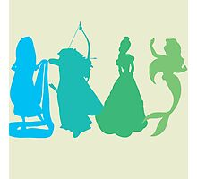 Princess Silhouettes - Blue and Green Photographic Print