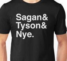 Sagan and Tyson and Nye Unisex T-Shirt