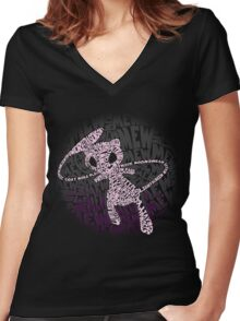 POKEMON MEW made out of its moves! Women's Fitted V-Neck T-Shirt