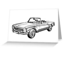 Mercedes Benz 280 SL Convertible Illustration Greeting Card