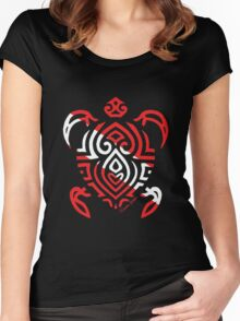 Scuba Flag Tribal Turtle Women's Fitted Scoop T-Shirt