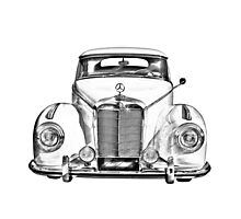 White Mercedes Benz 300 Luxury Car Drawing Photographic Print