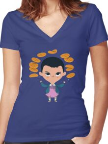 Eleven Waffles Women's Fitted V-Neck T-Shirt