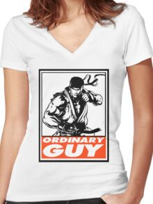 Ryu Ordinary Guy Obey Design Women's Fitted V-Neck T-Shirt