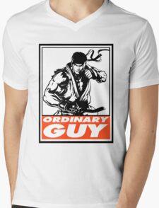 Ryu Ordinary Guy Obey Design Mens V-Neck T-Shirt