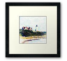 Nobska Lighthouse Cape Cod Illustrated Framed Print