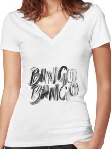Bingo Bango Slogan Hipster Funny Art Typography Women's Fitted V-Neck T-Shirt