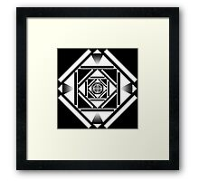 Black and white squares geometric design Framed Print