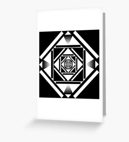 Black and white squares geometric design Greeting Card