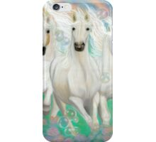 Grace- Divine spirit moves through 3 white galloping horses iPhone Case/Skin