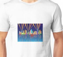 Hong Kong City Skyline Night Color Panorama Illustration Unisex T-Shirt