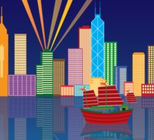 Hong Kong City Skyline Night Color Panorama Illustration Sticker