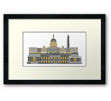 Washington DC Monuments and Landmarks Illustration Framed Print