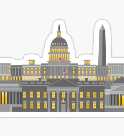 Washington DC Monuments and Landmarks Illustration Sticker
