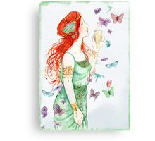Beautiful Girl with butterflies Canvas Print
