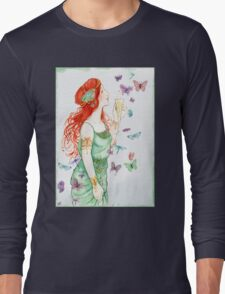 Beautiful Girl with butterflies Long Sleeve T-Shirt