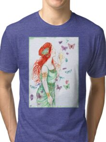 Beautiful Girl with butterflies Tri-blend T-Shirt