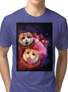 Waffles the Cat UFO  Tri-blend T-Shirt