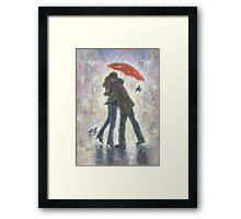 KISS IN THE RAIN Framed Print