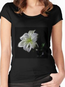 White shiny Flower Women's Fitted Scoop T-Shirt